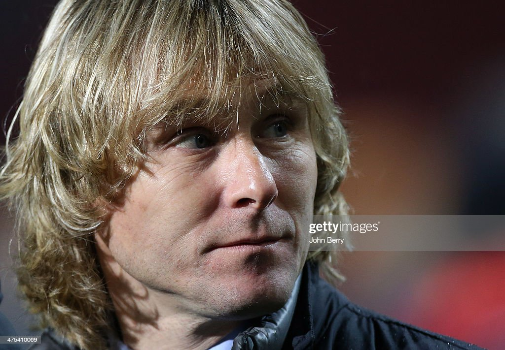 Member of Juventus board <a gi-track='captionPersonalityLinkClicked' href=/galleries/search?phrase=Pavel+Nedved&family=editorial&specificpeople=211256 ng-click='$event.stopPropagation()'>Pavel Nedved</a> looks on during the UEFA Europa League round of 32 match between AS Trabzonspor and Juventus Turin at Huseyin Avni Aker Stadium on February 27, 2014 in Trabzon, Turkey.