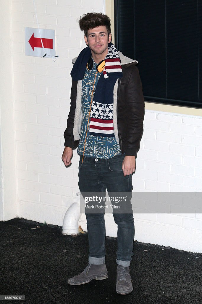 A member of Kingsland Road leaving Fountain Studios after filming the X Factor live show on October 26, 2013 in London, England.
