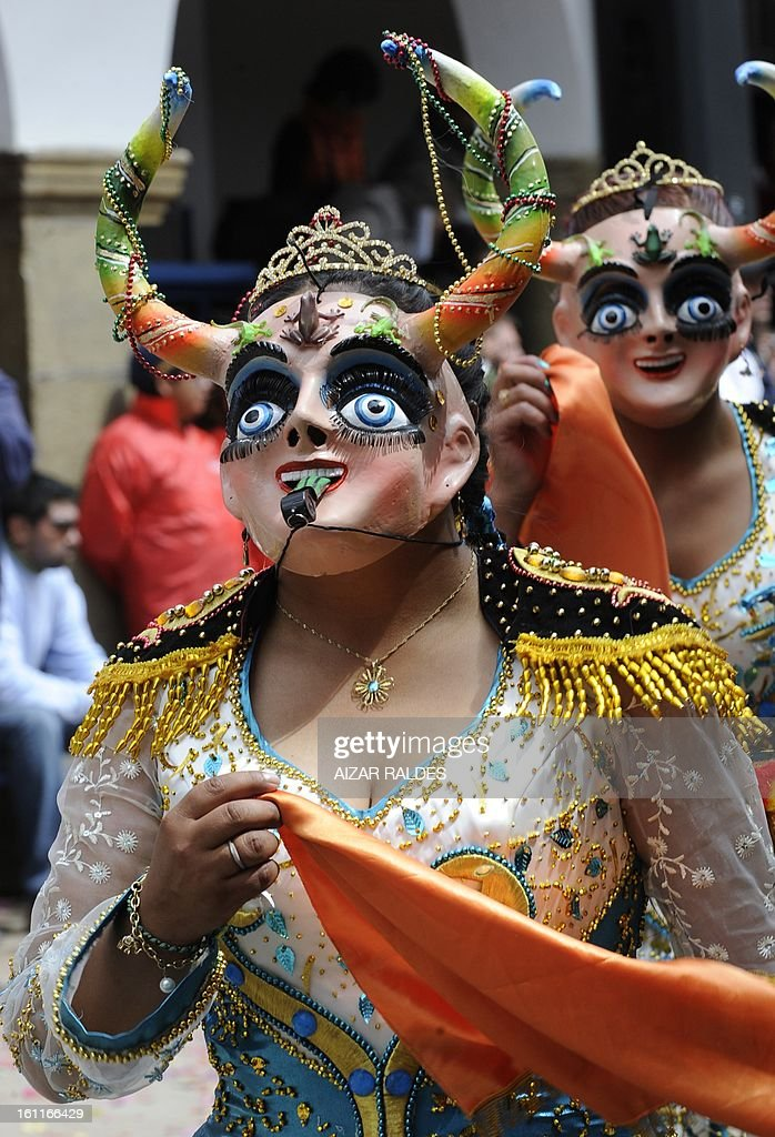 A member of La Diablada dance troupe takes part in Carnival of Oruro, in the mining town of Oruro, 240 km south of La Paz on February 9, 2013. The Carnival of Oruro was inscribed by UNESCO on the Representative List of the Intangible Cultural Heritage of Humanity in 2008.