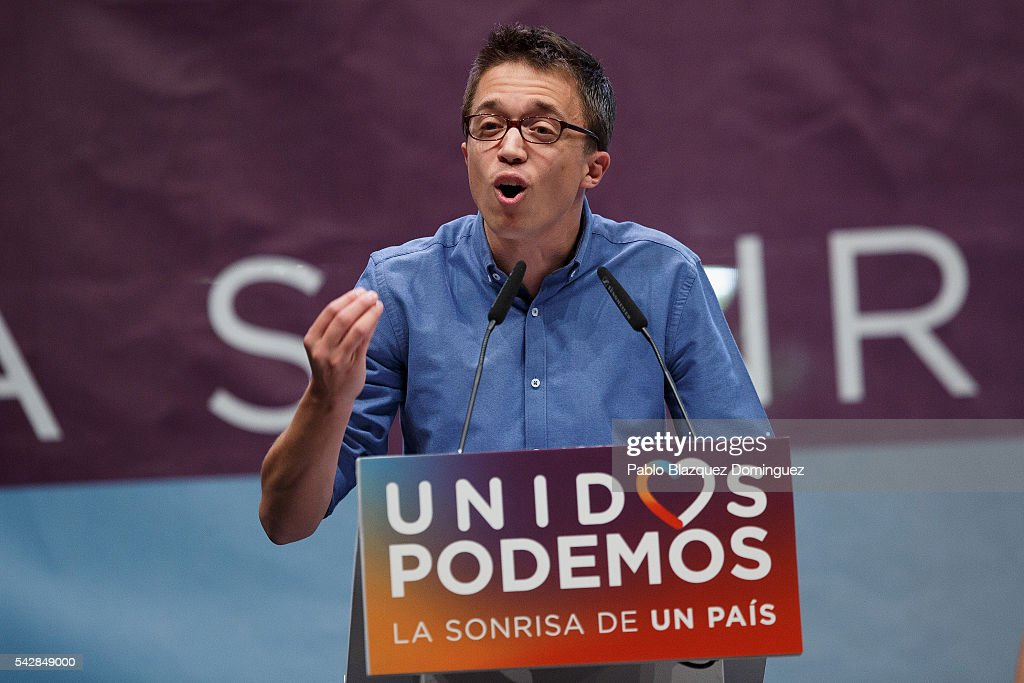 Member of left wing alliance party Unidos Podemos 'United We Can' Inigo Errejon addresses supporters during a rally ahead of Spanish General Elections on June 24, 2016 in Madrid, Spain. Spanish voters head back to the polls on June 26 after the last election in December failed to produce a government. Latest opinion polls suggest the Unidos Podemos 'United We Can' left-wing alliance could make enough gains to come in second behind the caretaker government of the center-right Popular Party.