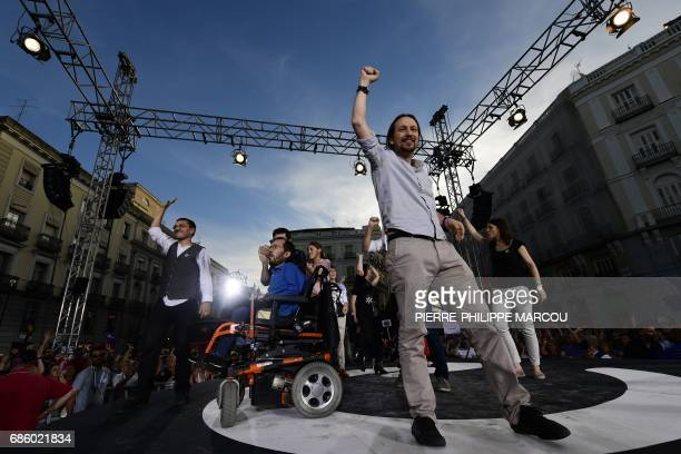 Member of leftwing protest party Podemos Juan Carlos Monedero Leftwing party Podemos member Pablo Echenique and Leader of left wing party Podemos...