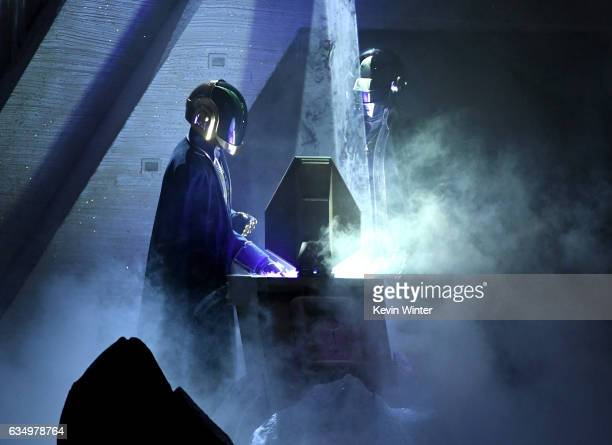 A member of music group Daft Punk performs onstage during The 59th GRAMMY Awards at STAPLES Center on February 12 2017 in Los Angeles California