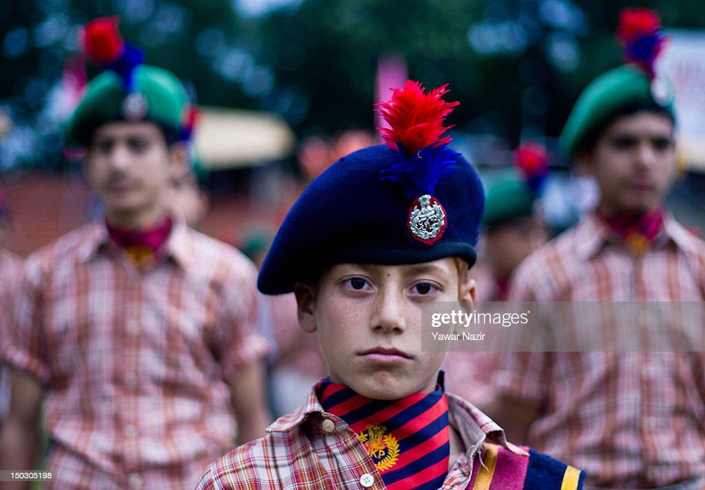 A member of National Cadet Corps (NCC) stands in formation during India's Independence Day celebrations on August 15, 2012 in Srinagar, the summer capital of Indian Administered Kashmir. All businesses, schools and shops were closed and traffic remained off the roads following a strike call given by Kashmiri separatist leaders against India's Independence Day celebrations in Kashmir. Meanwhile India deployed large numbers of Indian police and paramilitary forces to prevent any incidents during the official celebrations.