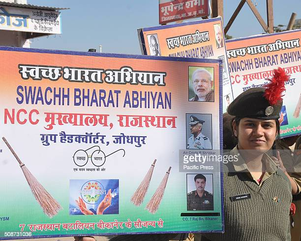 Member of NCC takes picture beside the banner during Swachh Bharat Abhiyan National Cadet Corps take part in an awareness to Swachh Bharat Abhiyan in...