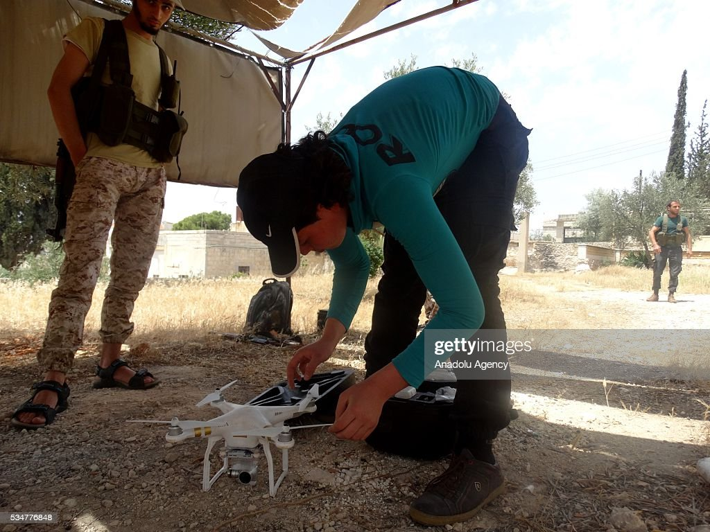 A member of opposition group Faylaq Al-Sham (Sham Legion) make preparations before they stage a missile attack against Assad Regime forces, located Military Academy building in Aleppo, Syira on May 27, 2016.