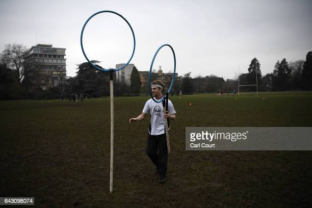 A member of Oxford University Quidditch team packs up after a training session on February 8 2017 in Oxford England Quidditch is the fictional game...