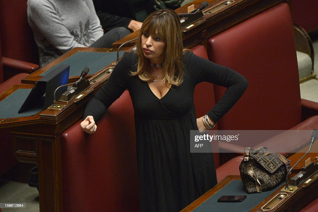 Member of parliament Alessandra Mussolini takes place for a session on a key budget vote on December 21, 2012 at the parliement in Rome. The Italian parliament prepared Friday for a key budget vote which will trigger the resignation of Prime Minister Mario Monti, who is expected to reveal this weekend whether he will run in the upcoming election.