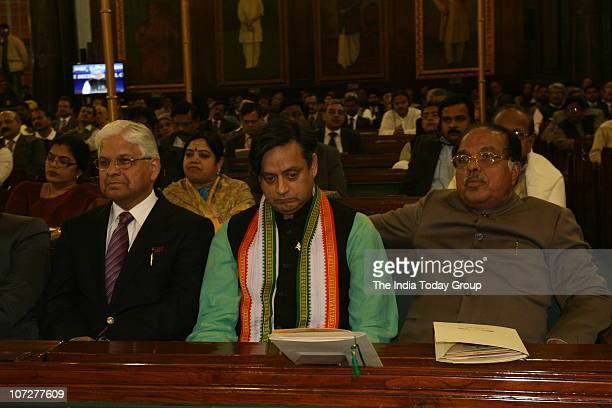Member of Parliament and writer Shashi Tharoor attends the Third Prof Hiren Mukherjee Annual Memorial Parliamentary Lecture in the Central Hall in...