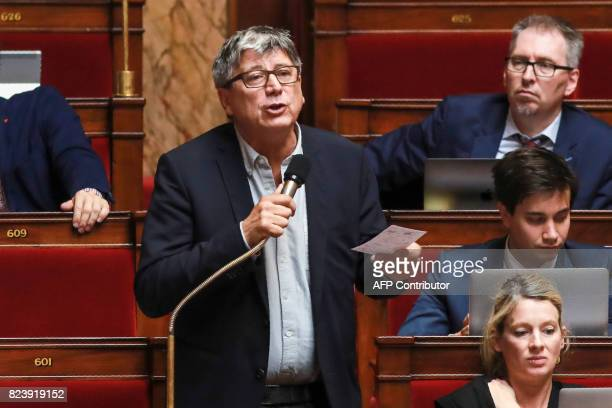 Member of Parliament for La France Insoumise party Eric Coquerel speaks during a debate on a draft law on the moralisation of political life at The...