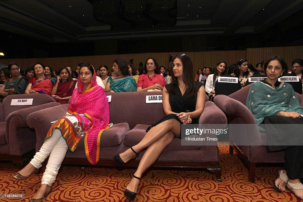 Member of Parliament Harsimran Kaur Badal and Bollywood Actress <a gi-track='captionPersonalityLinkClicked' href=/galleries/search?phrase=Lara+Dutta&family=editorial&specificpeople=728080 ng-click='$event.stopPropagation()'>Lara Dutta</a> attend the celebration of womanhood at the Young Women Achievers Award 2011-2012 held at The Lalit Hotel on April 11, 2012 in New Delhi, India .