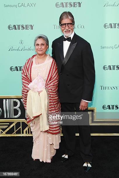 Member of Parliament Jaya Bhaduri Bachchan and actor Amitabh Harivansh Bachchan attend 'The Great Gatsby' world premiere at Alice Tully Hall at...