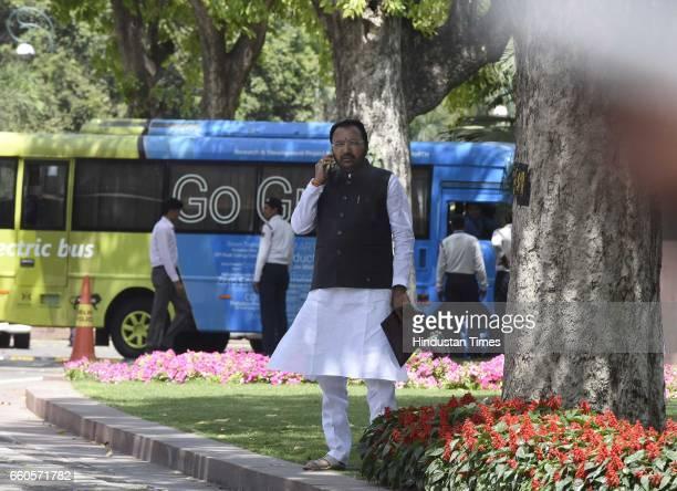 Member of Parliament of Buldhana Constituency Maharashtra Prataprao Ganpatrao Jadhav after meeting with Lok Sabha Speaker Sumitra Mahajan on the...