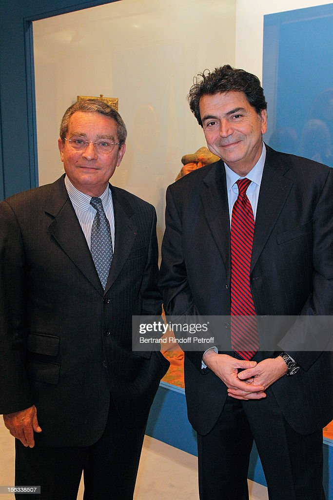 Member of Parliament <a gi-track='captionPersonalityLinkClicked' href=/galleries/search?phrase=Pierre+Lellouche&family=editorial&specificpeople=710423 ng-click='$event.stopPropagation()'>Pierre Lellouche</a> (R) and Francois Lebel, mayor of the Paris 8th district, attend the Royal House of Bourbon-Two Sicilies Exhibition on November 13, 2012 in Paris, France.