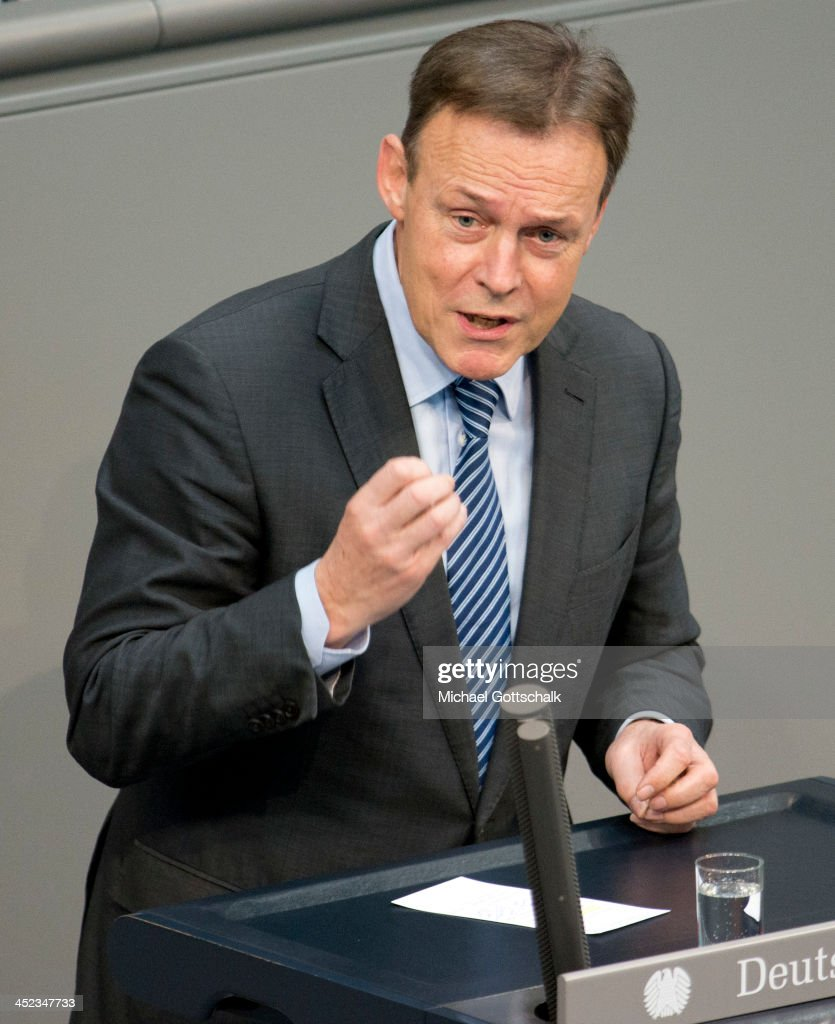 Member of Parliament, Thomas Oppermann (SPD), speaks during a plenary session in German Bundestag on November 28, 2013 in Berlin, Germany. The Bundestag debates the extensions of Bundeswehr mission in South-Sudan.