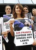 A member of PETA holds a placard reading 'Air France sends monkeys to labs' as she demonstrates against the French airline Air France to denounce the...