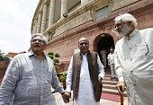 CPI Member of Rajya Sabha Sitaram Yechury MP of Rajya Sabha for Maharashtra DK Tripathi Samajwadi Party MP Munawwar Saleem at Parliament House on the...