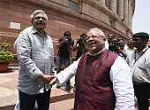 CPI Member of Rajya Sabha Sitaram Yechury with Minister of Micro Small and Medium Enterprises Kalraj Mishra during the Parliament Monsoon Session on...