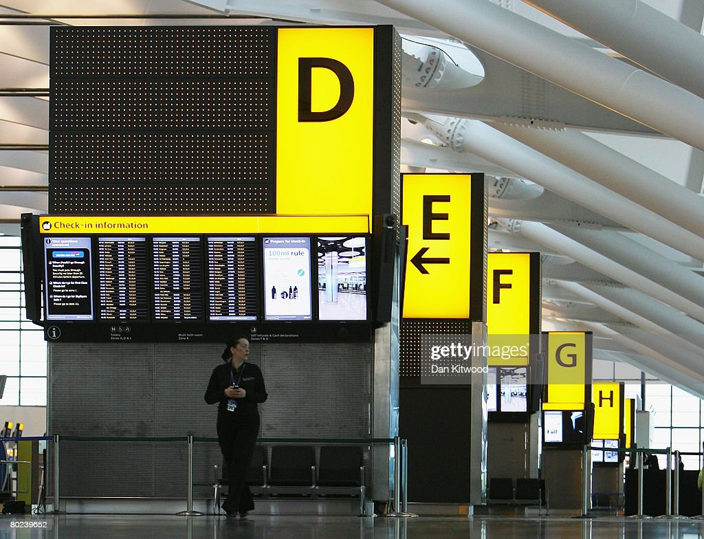 A member of staff stands in the Check-In area of the new Terminal 5 at Heathrow Airport, prior to its official opening on March 14, 2008 in London, England.