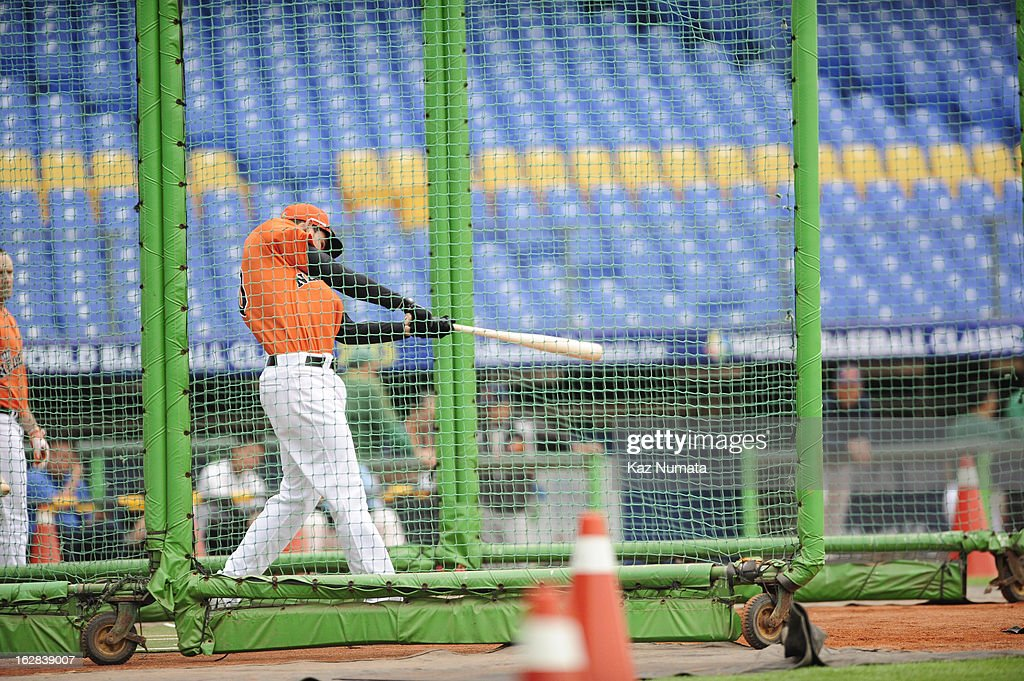 Member of Team Netherlands take batting practice before the World Baseball Classic exhibition game against the Industrial All-Star Team at Intercontinental Stadium on Tuesday, February 26, 2013 in Taichung, Tawain.