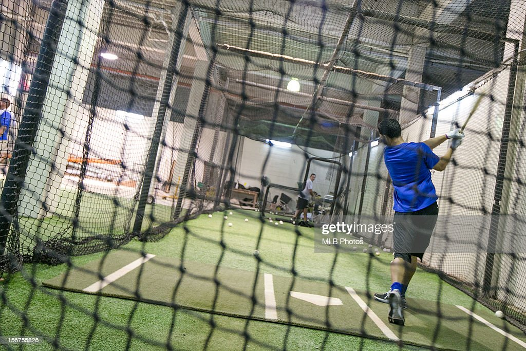 A member of Team Panama takes batting practice in the batting cage before Game 5 of the Qualifying Round of the World Baseball Classic between Team Panama and Team Colombia at Rod Carew National Stadium on Sunday, November 18, 2012 in Panama City, Panama.