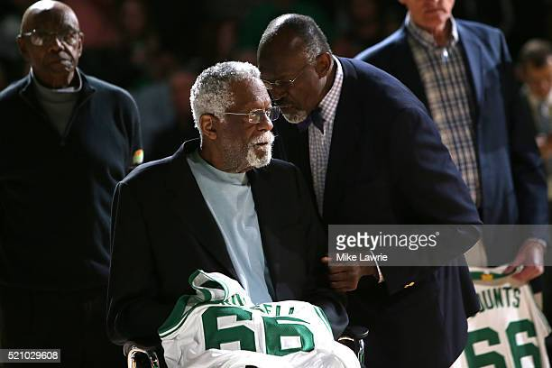 Member of the 1966 Boston Celtics Championship team Bill Russell is honored at halftime of the game between the Boston Celtics and the Miami Heat at...