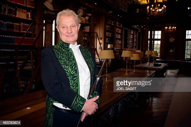 Member of the Academie Francaise Jacques Rougerie poses on February 12 2015 in Paris during the official entry ceremony of a new member of the...
