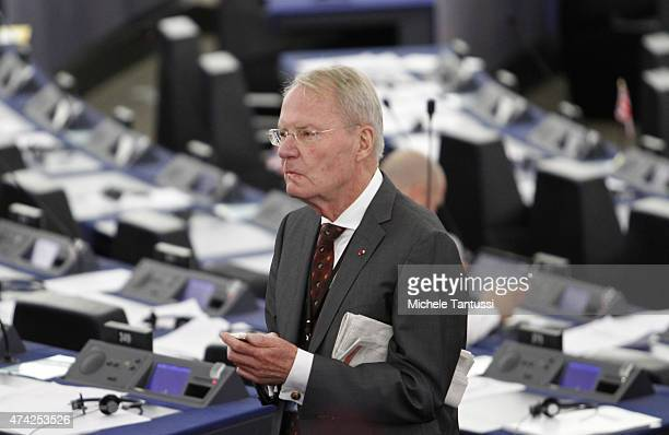 Member of the AFD party HansOlaf Henkel is seen during the plenary session of the European Parliament on May 21 2015 in Strasbourg France The last...