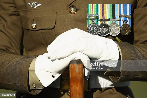 A member of the Australia Defence Force is seen in the Remembrance Round prematch ceremony during the round six ALeague match between the Central...
