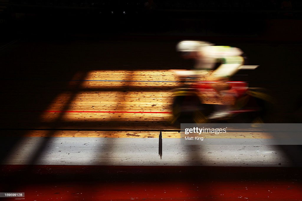 A member of the Australian Gold team competes in the Men's U19 4000m Team Pursuit Final during day two of the 2013 Australian Youth Olympic Festival at Dunc Gray Velodrome on January 17, 2013 in Sydney, Australia.