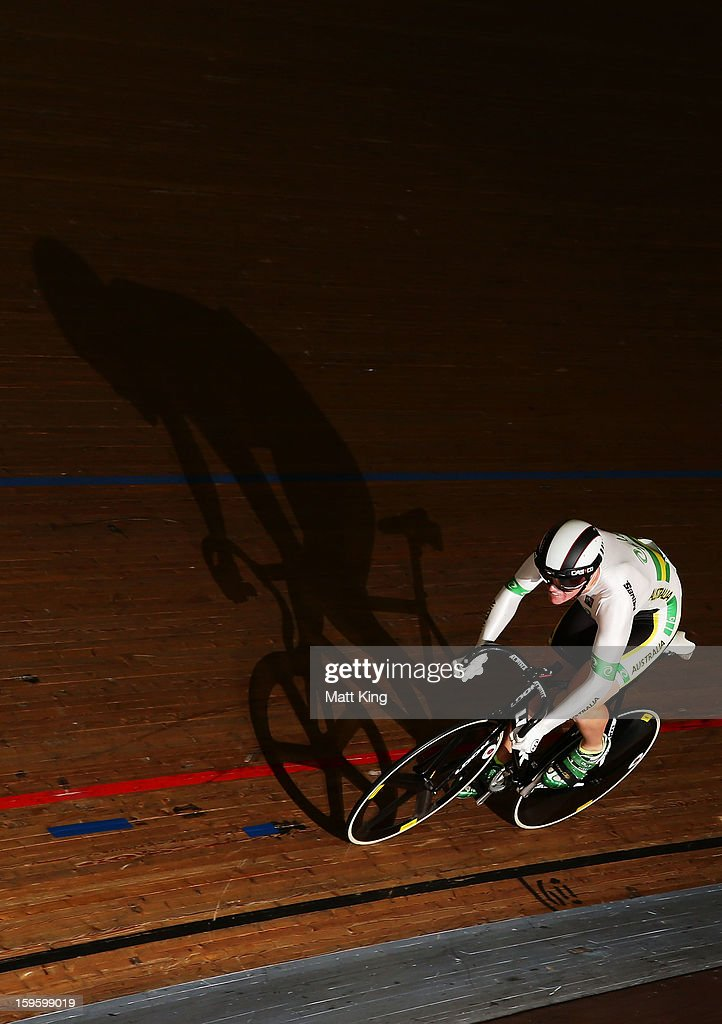 A member of the Australian Gold team competes in the Men's U19 Team Sprint Qualification during day two of the 2013 Australian Youth Olympic Festival at Dunc Gray Velodrome on January 17, 2013 in Sydney, Australia.