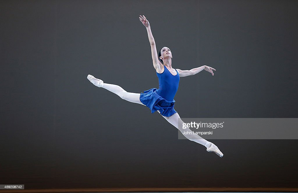 A member of the ballet troupe performs during The Mikhailovsky Ballet of St Petersburg's 'Class Concert' Dress Rehearsal at David H Koch Theater at...