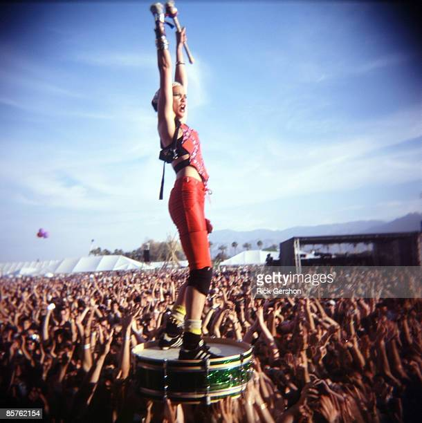 A member of the band Gogol Bordello performs as a part of the Coachella Valley Music and Arts Festival at the Empire Polo Fields on April 27 2008 in...