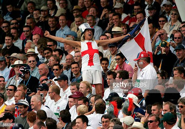 A member of the Barmy Army sings full voice during day one of the Second npower Ashes Test match between England and Australia at Edgbaston on August...