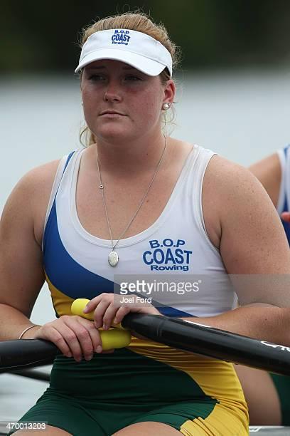 A member of the Bay of Plenty Coast Club women's senior double sculls team during the Bankstream New Zealand Rowing Championships at Lake Karapiro on...