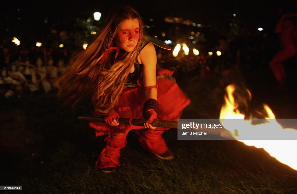 A member of the Beltane Fire Society is seen celebrating the coming of Summer on Calton Hill April 30, 2006 in Edinburgh, Scotland, United Kingdom. The procession is a revival of the ancient Celtic festival of Beltane. Around three hundred voluntary participants celebrate the ending of winter fire revelry and perform drumming around the hill.