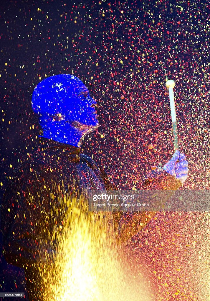 A member of the 'Blue Man Group' performs during the 'Bundesvision Song Contest 2012' at the Max-Schmeling-Halle on September 28, 2012 in Berlin, Germany.