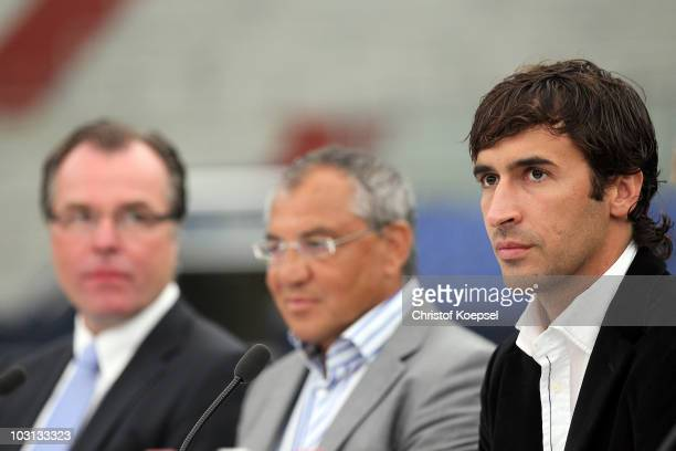 Member of the board Clemens Toennies Felix Magath and Raul Gonzalez attend the FC Schalke press conference at the Veltins Arena on July 28 2010 in...
