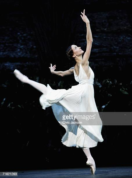 A member of the Bolshoi ballet performs at the Royal Opera House during a photocall before tonights performance of the Bright Stream on August 10...