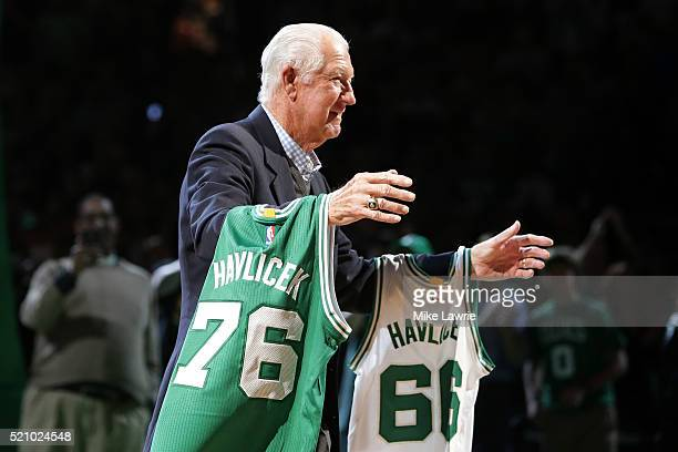 Member of the Boston Celtics 1966 and 1976 Championship teams John Havlicek is honored at halftime of the game between the Boston Celtics and the...