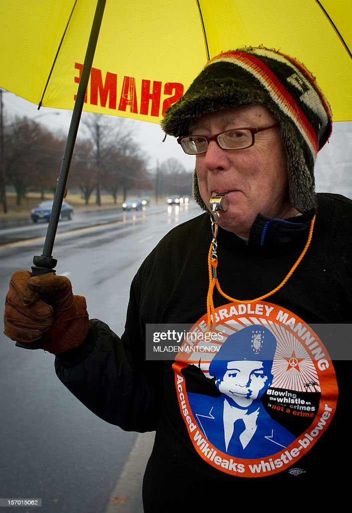 A member of the Bradley Manning Support Group whistles during a rally at the entrance of Fort George G. Meade military base in Fort Meade, Maryland on November 27, 2012. Manning is accused of downloading 260,000 US diplomatic cables, videos of US air strikes and US military reports from Afghanistan and Iraq between November 2009 and May 2010 and turning them over to WikiLeaks in what has been called one of the most serious intelligence breaches in US history. AFP PHOTO/ MLADEN ANTONOV