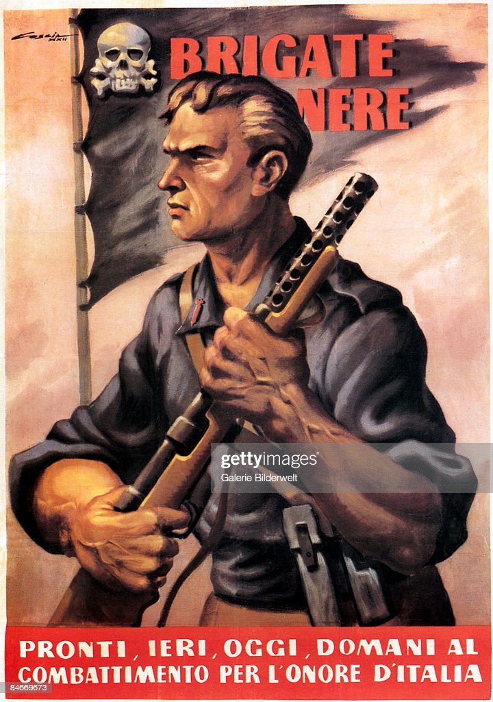 A member of the Brigate Nere or Black Brigade, a World War II Fascist paramilitary group in Italy, 1944. The caption reads 'Brigate Nere, pronti, ieri, oggi, domani al combattimento per l'onore d'Italia' ('Black Brigade, ready yesterday, today and tomorrow to fight for the honour of Italy'). An Italian poster.