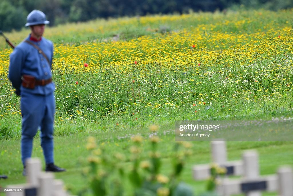 Member of the British Army stands guard during the ceremony to mark the centenary of the Battle of the Somme at the Thiepval monument, in Thiepval, near Amiens, northern France on July 01, 2016. The Battle of the Somme remains as one of the most deadly battles of the First World War.