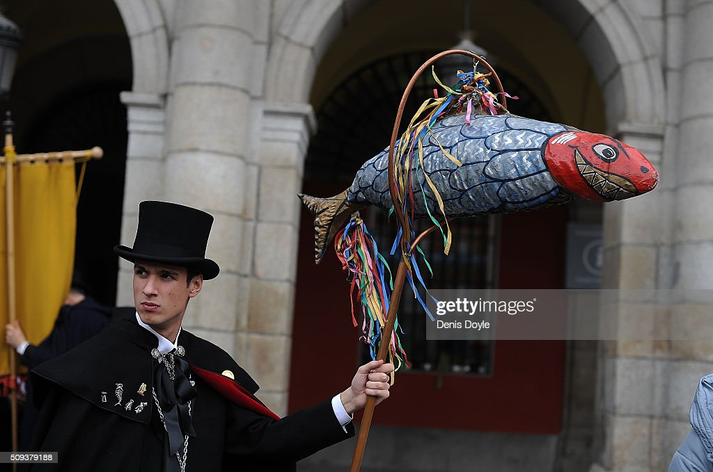 A member of the Brotherhood of the ''Burial of the Sardine'' holds a replica of a sardine during the Burial of the Sardine procession on February 10, 2016 in Madrid, Spain. The Sardine procession is a centuries-old Spanish tradition made famous by a painting by Spanish artist Francisco de Goya called 'El Entierro de La Sardina'. The mourners hold a mock funeral procession mourning the end of Carnival through the heart of old 'Castizo' Madrid visiting and enjoying the wines and tapas of local taverns.