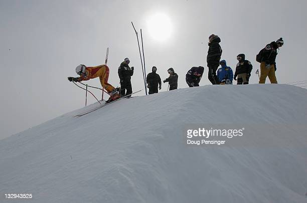 A member of the Canadian Women's Alpine Ski Team leaves the start of the downhill course at the US Ski Team Speed Center at Copper on November 15...