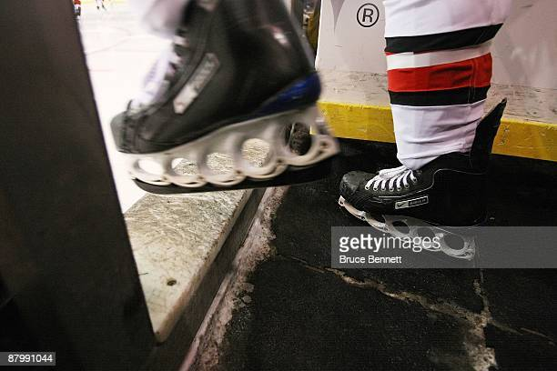 A member of the Carolina Hurricanes skates out to face the Pittsburgh Penguins during Game Two of the Eastern Conference Championship Round of the...