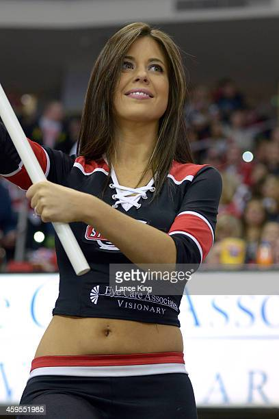 A member of the Carolina Hurricanes Storm Squad cheers against the Pittsburgh Penguins at PNC Arena on December 27 2013 in Raleigh North Carolina