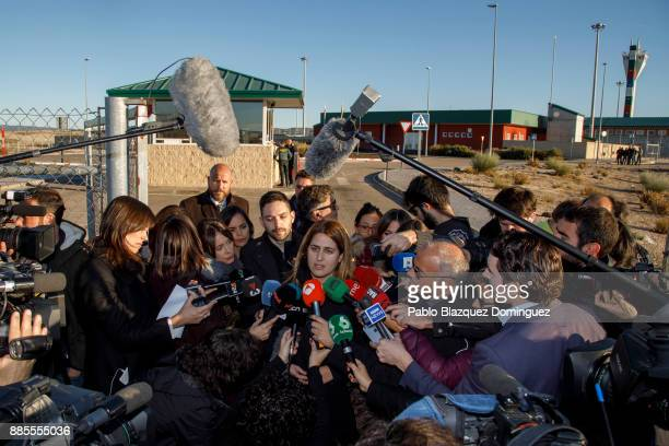 Member of the Catalan European Democratic Party Marta Pascal speaks to press outside Estremera prison before former members of the Catalan government...