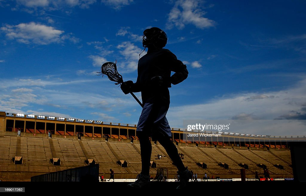 A member of the Chesapeake Bayhawks runs off of the field prior to the game against the Boston Cannons on May 18, 2013 at Harvard Stadium in Boston, Massachusetts.