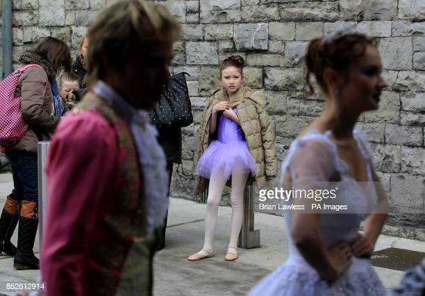 Member of the Chester School of Dance Leah Doherty nine watches a demonstration by members of the Royal Moscow Ballet in Clanwilliam Terrace Dublin...