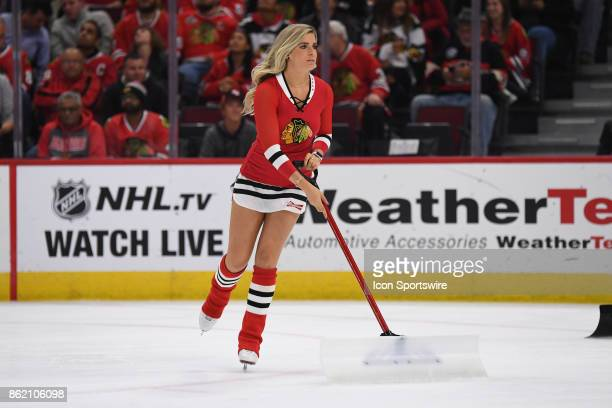 A member of the Chicago Blackhawks ice crew in action during a game between the Chicago Blackhawks and the Minnesota Wild on October 12 at the United...